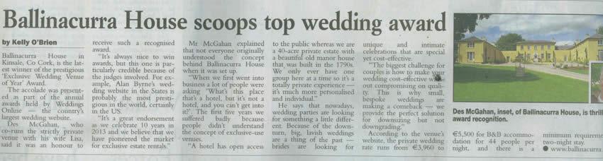 Irish Examiner – Ballinacurra House Scoops Top Wedding Award