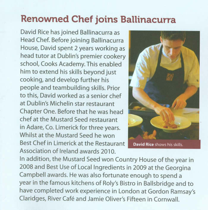 Chamberlink – Renowned Chef Joins Ballinacurra